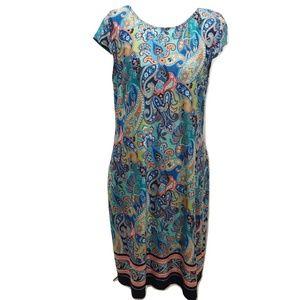 Karin Stevens Sz L Dress Blue Paisley Midi Casual